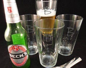 Beer Glasses, Set/4, 16 oz. Engraved/Personalized
