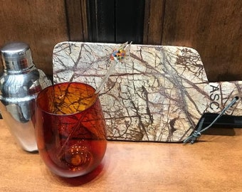 Cheese Board, Cutting Board,  Brown Agate Granite, Rare Veining & Color, Rectangular with Handle, Gift Item - Laser Engraved, Personalized