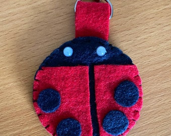 C124 Red and Black Lady Bug Gift chapstick keychain holder