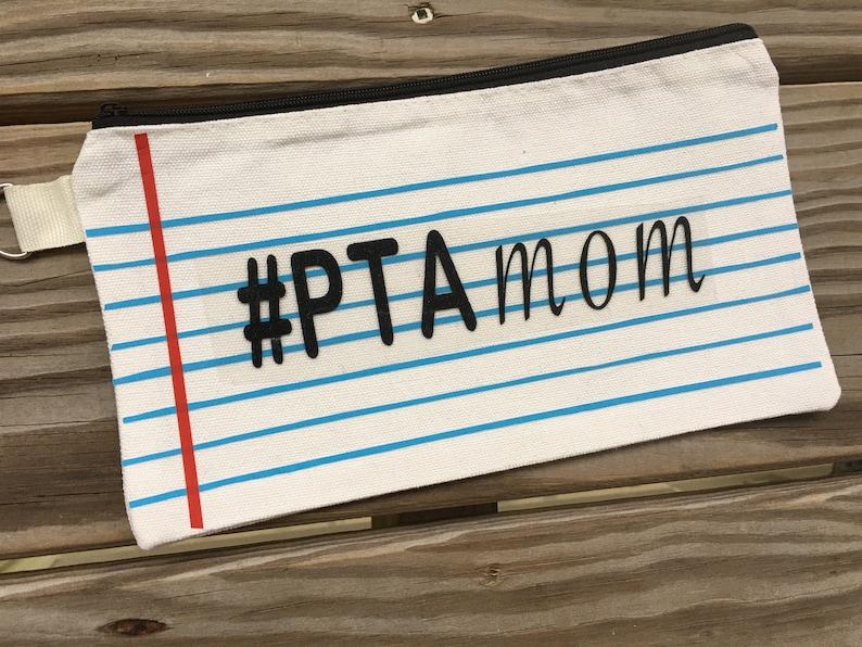 PTA mom pencil case makeup case  Teacher appreciation gift School pencil case gift notebook paper bag customized gifts for teachers