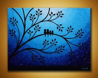 Family birds Painting,Blue Canvas Art, Birds on tree painting, night sky birds artwork Nursery wall art Children's room art, family painting