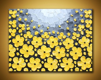 Yellow Gray Wall Art 3d Large Contemporary art Yellow flower painting Grey yellow textured painting Large floral canvas art 18x24 painting