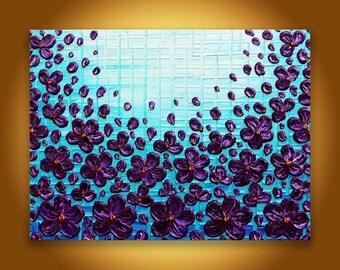 Purple poppy painting, Original Painting, Turquoise wall art, Textured flowers modern home decor 18x24 artwork Living room purple art