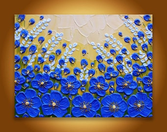Poppy Painting Original Impasto flower Contemporary art, Blue Yellow abstract floral landscape home decor Himalayan poppies textured wall