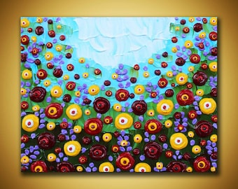 Colorful wall art, Original Painting, Textured flowers art, Small floral painting, 8x10 canvas art, 3d painting Impasto palette knife art
