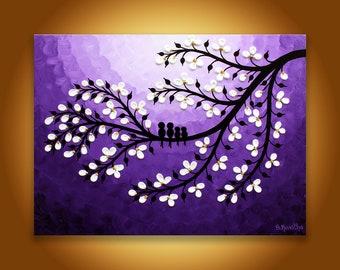 Family birds Painting, Purple Canvas Art, Birds on tree painting, Purple birds artwork Nursery wall art Children's room art, Purple painting