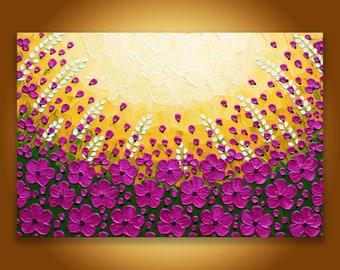 Large flower painting, Original textured landscape, Pastel Wall art, Girls room Fuschia pink decor, pink yellow art, 24x36 painting home