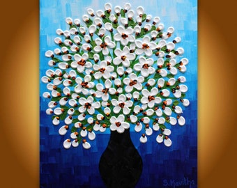 Original floral art, Textured Painting White flowers in vase, Blue White Painting 10x8 Modern wall art, Impasto artwork  3d Contemporary
