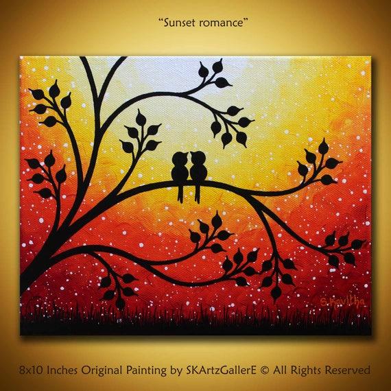 Oiseaux peinture art coucher de soleil original 8 x 10 - Dessin coucher de soleil ...