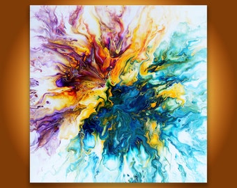 Colorful abstract art, Orignal Painting, Yellow blue abstract home decor, 24x24 fluid art, blue purple yellow Modern art, Acrylic pour art