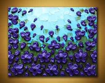 Original poppy painting 8x10 Purple poppies art Textured floral painting Impasto poppy field Purple canvas art Girl room wall Purple flowers
