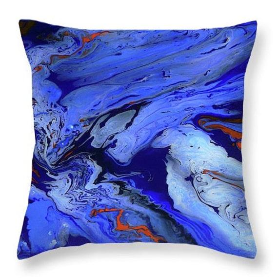 Blue Throw Pillow Abstract Art Decorative Pillow Modern Blue Etsy Mesmerizing Decorative Bed Pillows Blue