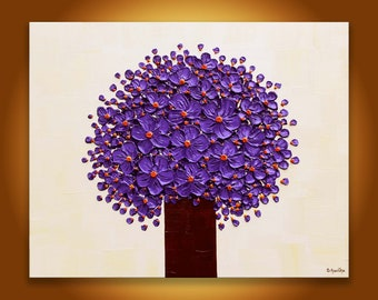 Original Painting purple flowers in vase Textured abstract floral large wall art, 3d painting Modern living room decor, purple beige 24x30