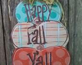 Fall door hanger, wood door hanger, happy Fall door hanger, pumpkin door hanger, pumpkin decor, Fall decor