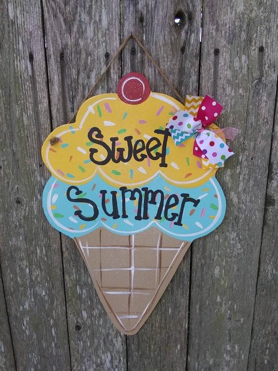 Summer door hanger personalized sign ice cream cone door hanger sweet summer door hanger summer decor farmhouse decor door hanger