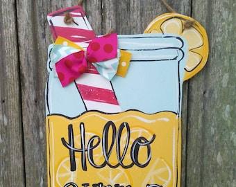 Wood door hanger, Summer door hanger, mason jar door hanger, Summer decor, lemonade door hanger, farmhouse sign .***.larger size now***!!!!