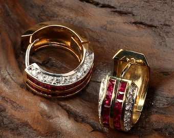 18K Yellow Gold/ Ruby Earrings - DE245