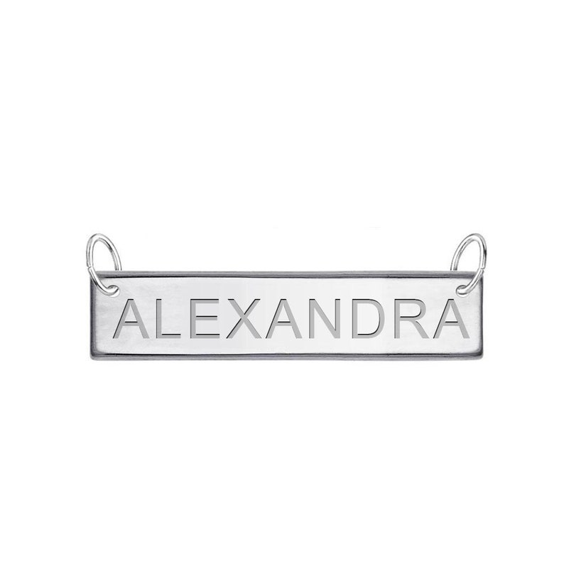 BARDD02-9 High Polished Name Tag Charm Customized Sterling Silver Tag Bar Customize with Free Engraving Gift For Mom Gift for her