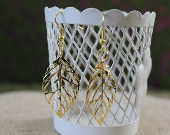 Delicate Light Weight Gold Fall Leaf Earrings