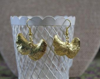 Gold Ginkgo Ginko Fall Leaf Earrings