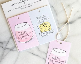 Wine and Cheese Birthday Gift Tags. Set of 10 wine lover birthday cards. Birthday gift wrap. Happy Birthday card. You are aged to perfection