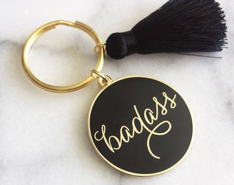 Badass Enamel Keychain with silk tassel. Gold Badass Keychain. Badass Flair. Wedding party gifts. Wedding party favor. Bff gift. Tribe Gifts