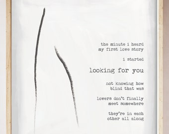 Rumi Lovers Art Print. Modern Abstract Art. Typographic Art. Rumi Love Story Quote Wall Art. Home Decor.