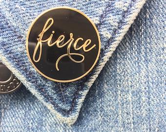 Fierce Enamel Pin. Gold and Black Fierce Lapel Pin. Biatch Enamel Pin, Nerd Enamel Pin,  Flawsome Hard Enamel Pin. Blush and Gold Lapel pin.
