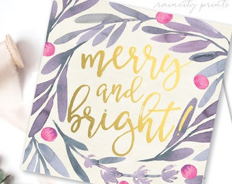 Merry and Bright Set of 8 Gold Foil Embossed Christmas Cards. Joy to the world Christmas Cards. Happy New Years Cards. Holiday gift wrapping