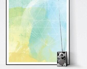 Modern Minimalist Abstract Art. Geometric Art. Water Color Art Print. Home  Decor. Wall Art. Scandinavian Decor. Large Art Oversized Art