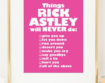 Rick Astley Never Gonna Give you Up Poster. Typographic Art. Valentines Day bff friend gift. Wall Art. Rick Astley Lyrics Poster. 80's Art