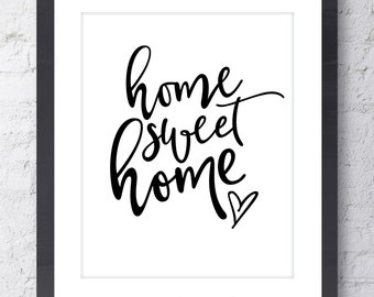 Home Sweet Home Art Print. Mothers Day Gift. Modern Typographic art. Inspirational art. Real Gold Foil Wall Art. Home Decor. Gift for Her