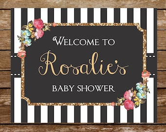 Black and white welcome sign printable baby shower birthday welcome sign black white sign roses welcome sign retirement welcome sign 127