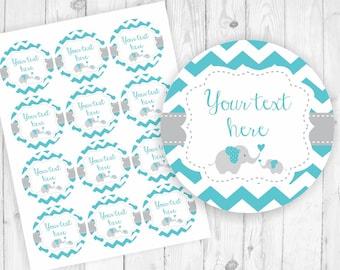 Blue elephant favor tags elephant baby shower turquoise favor tags printable elephant tag round boy favor tags printable custom tags 118
