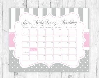 Guess the due date printable pink calendar guess the date baby shower birthday guess game sign pink and grey due date sign baby shower