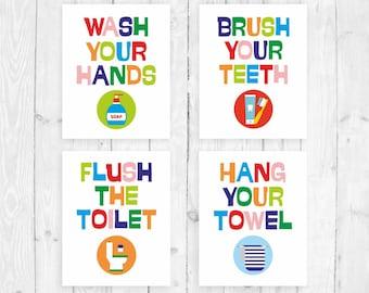 Wash brush floss flush Printable Kids Bathroom Rules Art   Etsy