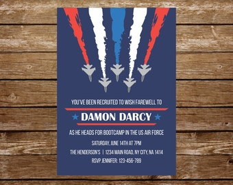 Air force invitation going away military invitation army retirement party invitation bootcamp invitation printable plane invitation army 328
