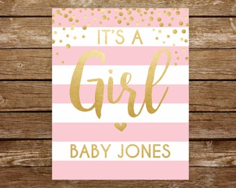 Its a girl sign team girl baby shower sign printable sign gender announcement gender reveal sign party gender reveal girl sign pink gold 251