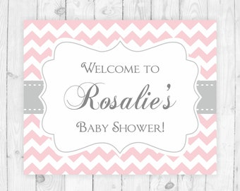 Pink welcome sign printable baby shower sign pink and grey chevron welcome sign baby shower sign door baby shower printable welcome sign 105