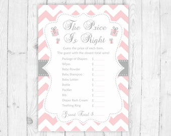 The price is right game baby shower printable games pink baby shower guess the price game baby shower activity pink and grey pink price 105