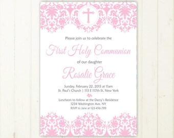 girl first communion invitation pink first communion invite holy communion invitation comunion invitation baptism invitation printable 170