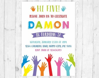 5th Birthday Invitation High Five Party Printable Hi 5 Invite Art