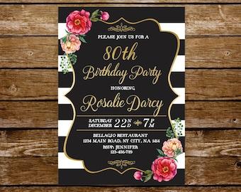 80th birthday invitation woman elegant birthday invite 21st birthday 30th 40th 50th 60th birthday printable invitation 75th 70th 85th 232
