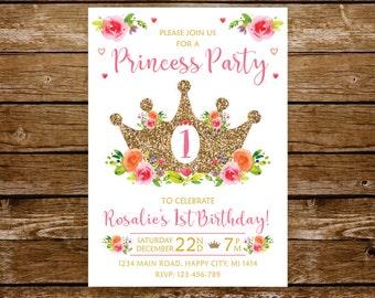 1 birthday princess invitation 1st birthday girl princess invitation princess party pink and gold invitation fairy tale invite printable 209