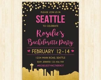 Seattle bachelorette weekend invitation Seattle bridal shower invitation itinerary Seattle party invitation printable Seattle invitation 284