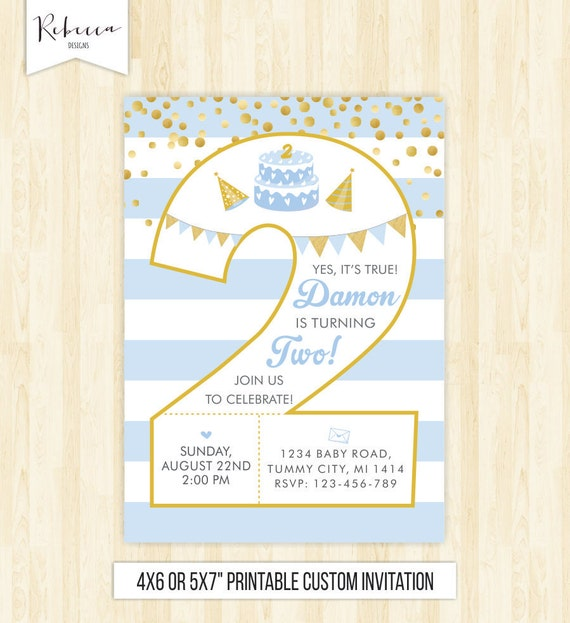 2nd Birthday Boy Invitation Second Invite Number Two Gold And Blue Confetti Printable 215