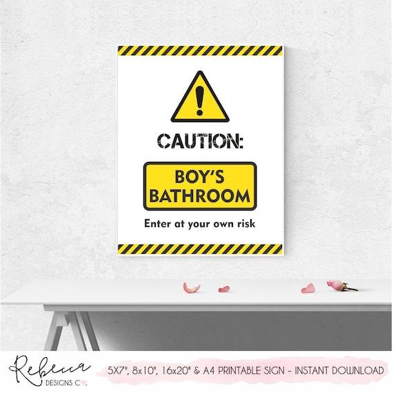 Caution Kids Bathroom Sign Boys Bathroom Sign Printable Poster Chidren Bathroom Wall Decor Funny Bathroom Signs Bathroom Decor Toilet Sign By Rebecca Designs Co Catch My Party