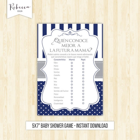 Spanish Baby Shower Game In Spanish Who Knows Mommy Best Espanol