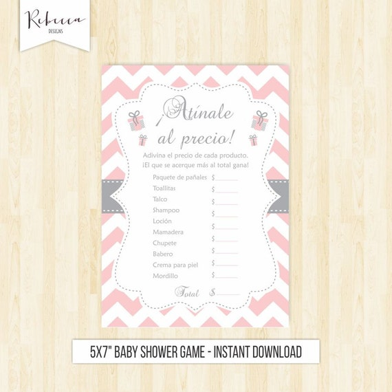 The Price Is Right In Spanish Baby Shower Rosa Game Atinale Al