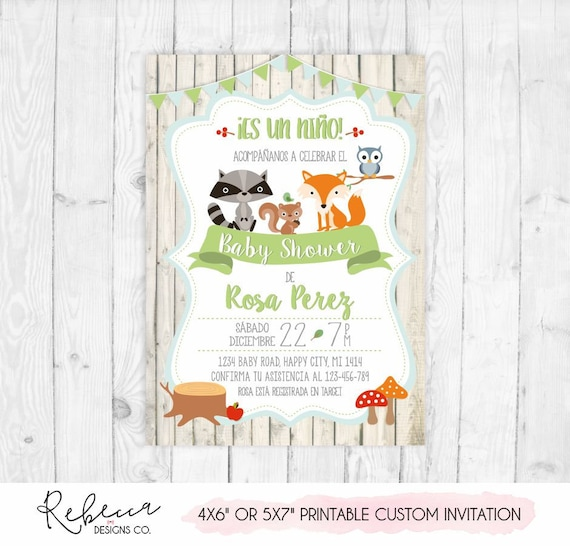Invitacion Baby Shower Espanol Boy Baby Shower In Spanish Etsy
